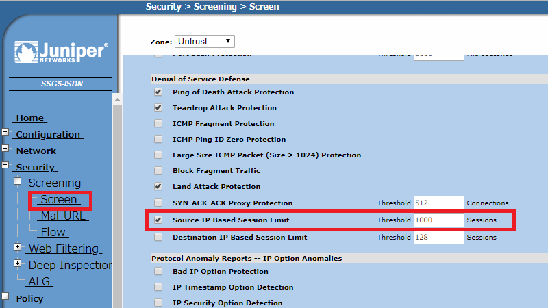 Juniper 管理画面 Source IP Based Session Limit